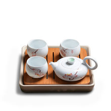 Free Shipping Ceramic bamboo square tea tray hand-painted Cyan Flower tea cup pot set Japanese-style Kung Fu tea set(China)