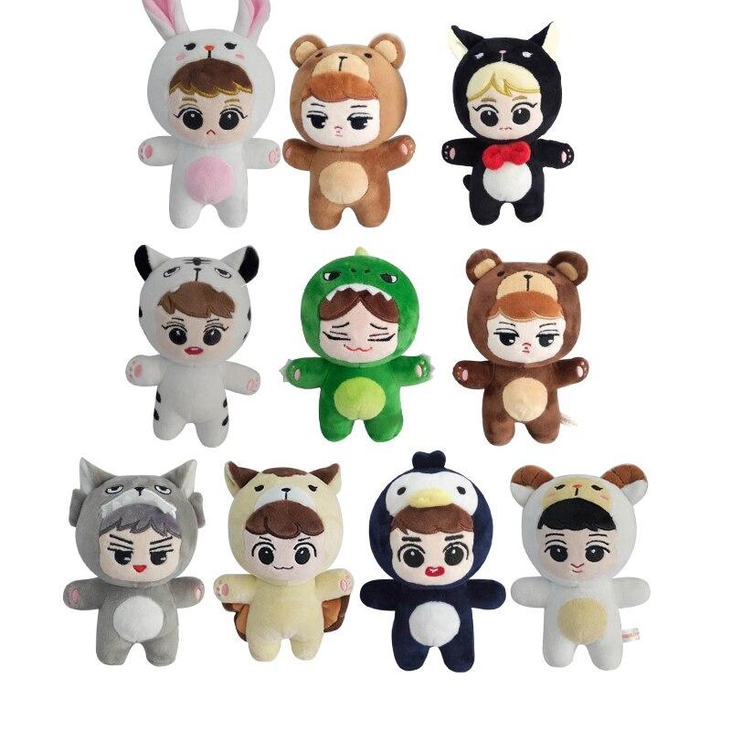 KPOP EXO Animais Brinquedos de Pelúcia Bonecos de Pelúcia de Algodão Stuffed Dolls Handmade KAI SEHUN BAEKHYUN FAZER LAY CHEN Fanmade Gift Collection 15 centímetros