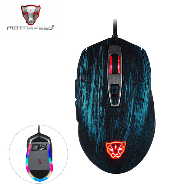 Motospeed V60 5000 DPI Wired Gaming Mouse 7Keys Computer Peripherals Ultra-fast Pmw3325 High Precision Optical Engine 100 inch/s