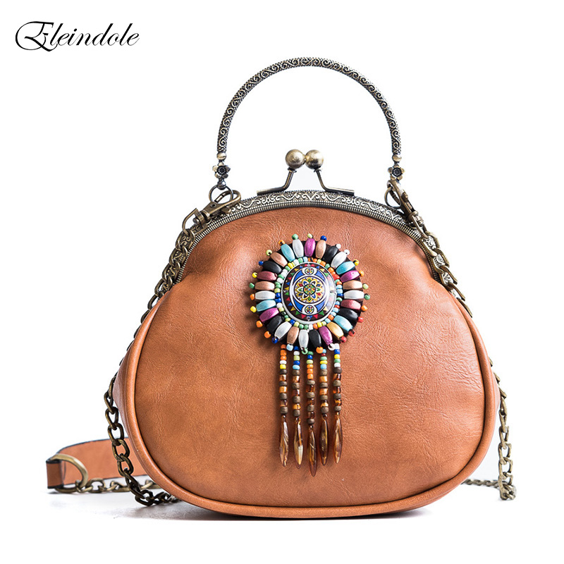Eleindole New Fashion Women Shoulder Bags National Chains Vintage Design Ladies Crossbody Bag Tassel PU Leather Female Shell Bag