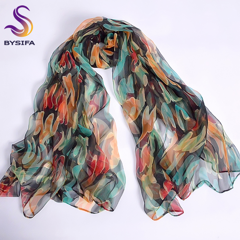 New Blue Orange Silk   Scarf   Printed 2016 New Brand 100% Pure Silk   Scarves     Wraps   Spring Autumn Female Large Size Long   Scarves