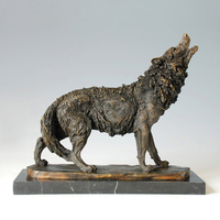 ATLIE BRONZES Western Styles antiques Howling wild Wolf Bronze Statue animal sculpture signed by Milo
