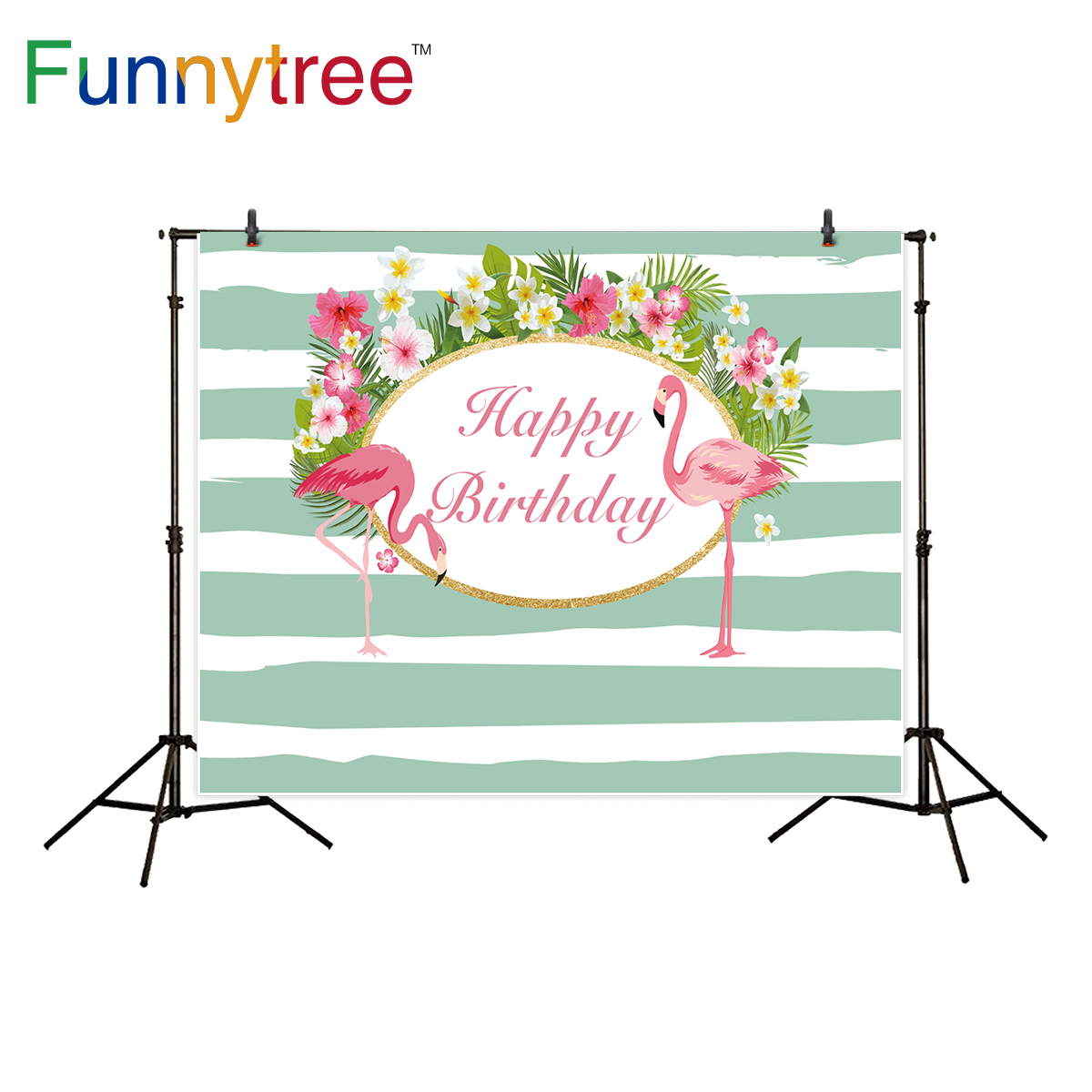 Funnytree background for photography tropical flamingo flower birthday party celebration backdrop photo studio photocall new christmas photo background rose daisy flower professional new born xmas photography photocall background pictures