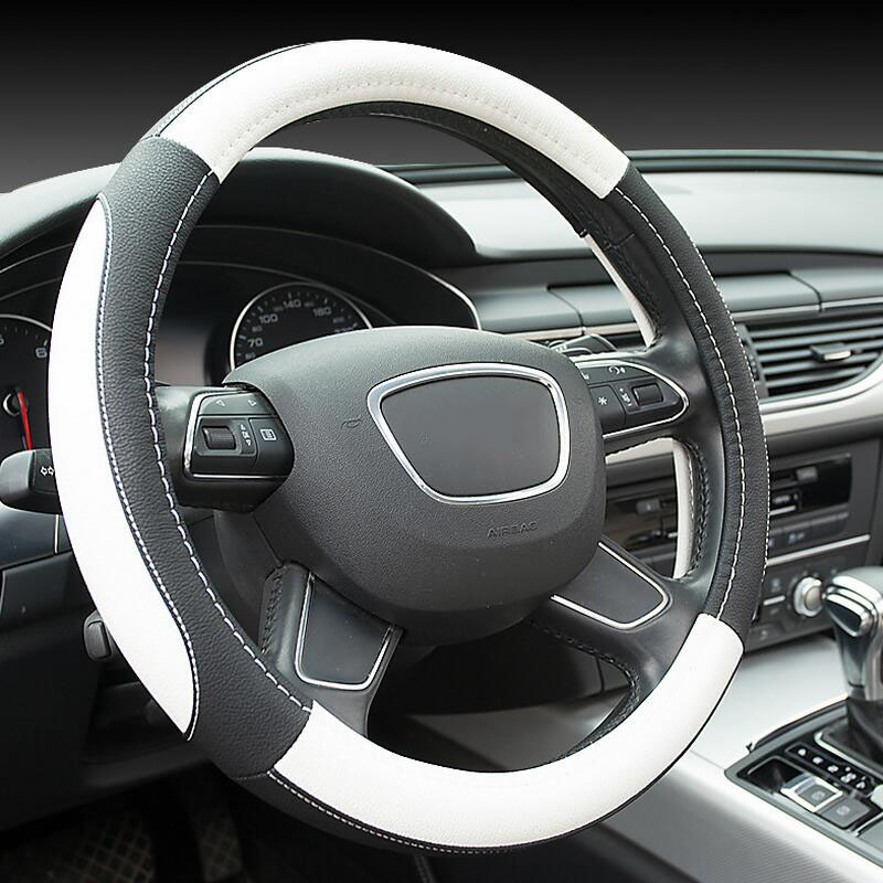 38CM Car Styling Universally Leather Black Blue White Red Car Steering Wheel Cover Automobile Interior Accessories