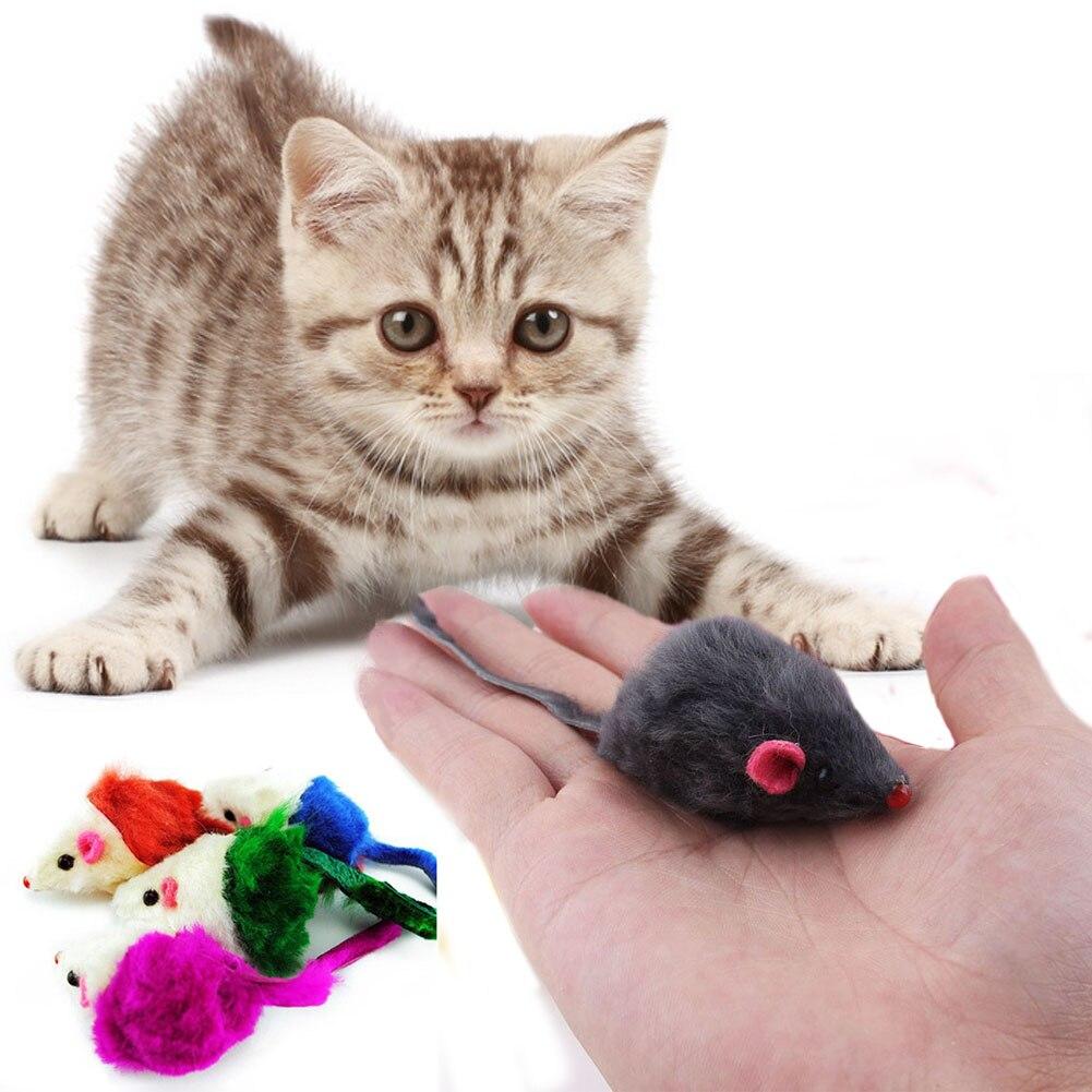 lot Rabbit Fur False Mouse Pet Cat Toys Mini Funny Playing Toys
