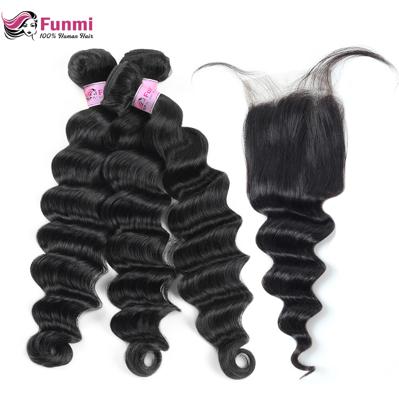 Funmi Peruvian Loose Deep Wave Bundles With Closure Double Weft Virgin Human Hair Bundles With Closure 3 Bundles With Closure