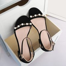 Big Size 9 10 11 12 high heels sandals women shoes woman summer ladies A word with pearl back bare toe(China)