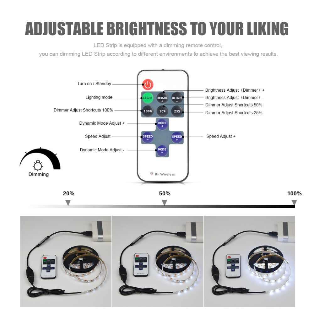 1 м 2 м 3 м 4 м 5 м кухонный светодиодный светильник с радиочастотным пультом, затемняемый Светодиодный шкаф для шкафа, лампа 5 в USB power tv, подсветка коридора, светодиодный свет