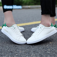 Men Women Shoes Casual Shoes Genuine Leather Couple Low To Help Banxie Flat White Shoes Students