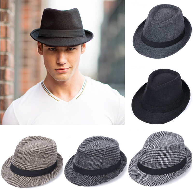 96d0502e8c935 New Brand Wool Men s Black Fedora Hat For Gentleman Woolen Wide Brim Jazz  Church Cap Vintage Panama Sun Top Hat