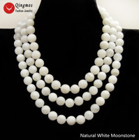 Qingmos Natural White Moonstone Necklace for Women with 12mm Round Moonstone Stone Necklace Jewelry 3 Strands Chokers 17 19''