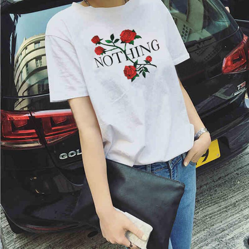 2017 Nothing Letter Print T Shirt Rose Harajuku T Shirt Women Summer Casual Short Sleeve TShirt