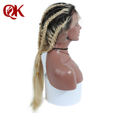 QueenKing hair Lace Front Wig 180% Density Ombre T1B 613 Silky Straight Preplucked Hairline 100% Brazilian Human Remy Hair