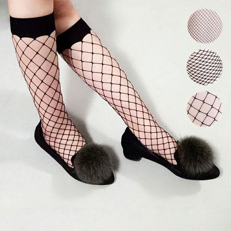 Women Mesh Lace Fish Net Long Socks Glitzy Transparent Socks Fishnet High Socks H9