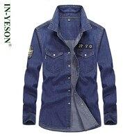 IN YESON long sleeve shirt men brand denim shirt men European Asian style mens jeans shirt casual dress shirt camisas