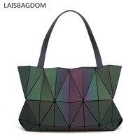 Folded Geometric Bag Women Noctilucent Bags Geometry Diamond Tote Folding Handbags Women Hologram Bags