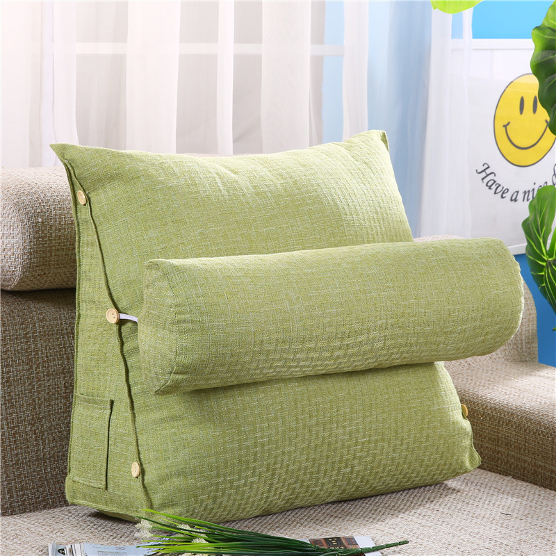 Bed Triangular Linen Cotton Cushion Chair Big Large Pillow Bedside Lumbar Backrest Lazy Reading