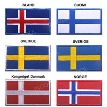 Island Iceland Suomi Finland Sverige Sweden Kongeriget Danmark Norge Norway Flag Embroidery Patch European Flags 3D Appliques(China)
