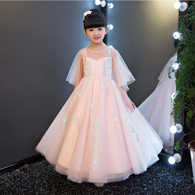 2017 New European Elegant Children Girls Summer Pink Lace Long Dress Kids Sweet Luxury Birthday Wedding Party Pageant Dress