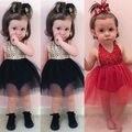 Bebê Recém-nascido bonito Meninas Vestido de Lantejoulas Malha Vestido Tutu Infantil Bebes Sem Mangas Princesa Festa Vestido Romper 0-24 M