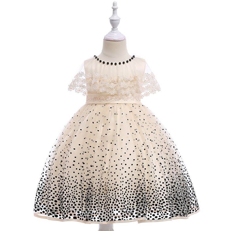 Free shipping Children's wedding party dress short sleeve wave point princess dress flower girl Princess party dress JQ-2013