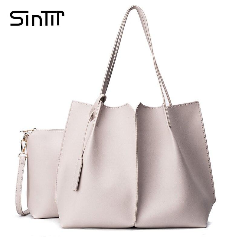 SINTIR Luxury Brand Large Capacity Tote Vintage Women Handbags High Quality Leather Fashion Black Ladies Shoulder Bags Bolsos