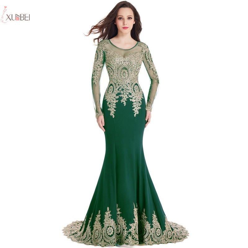 Elegant 2019 Green Mermaid Long   Prom     Dresses   Lace Applique Long Sleeve   Prom   Gown Vestido de gala