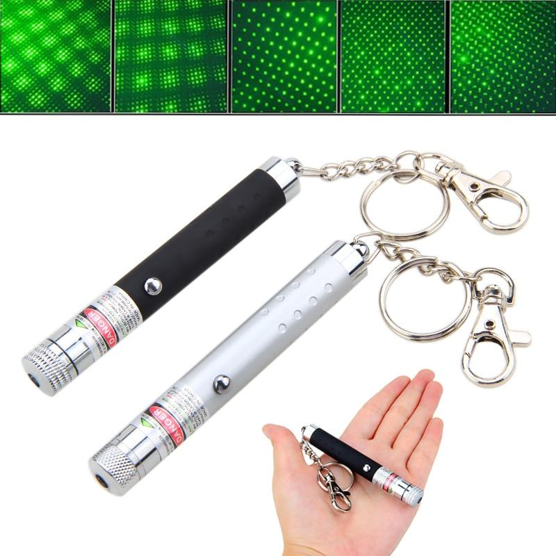 Mini 532nm Tactical Hunting Laser Pen Light with Key Chain 2 in 1 Dot or Star Green Laser Pointer Light Burning Beam Light