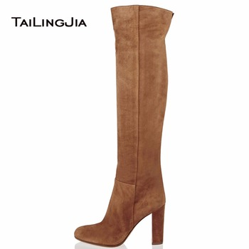Faux Suede Women's Brown Over knee High Boots Block Heel Winter Keep Warm Ladies Boots Fashion Slip On Plus Size Free Shipping