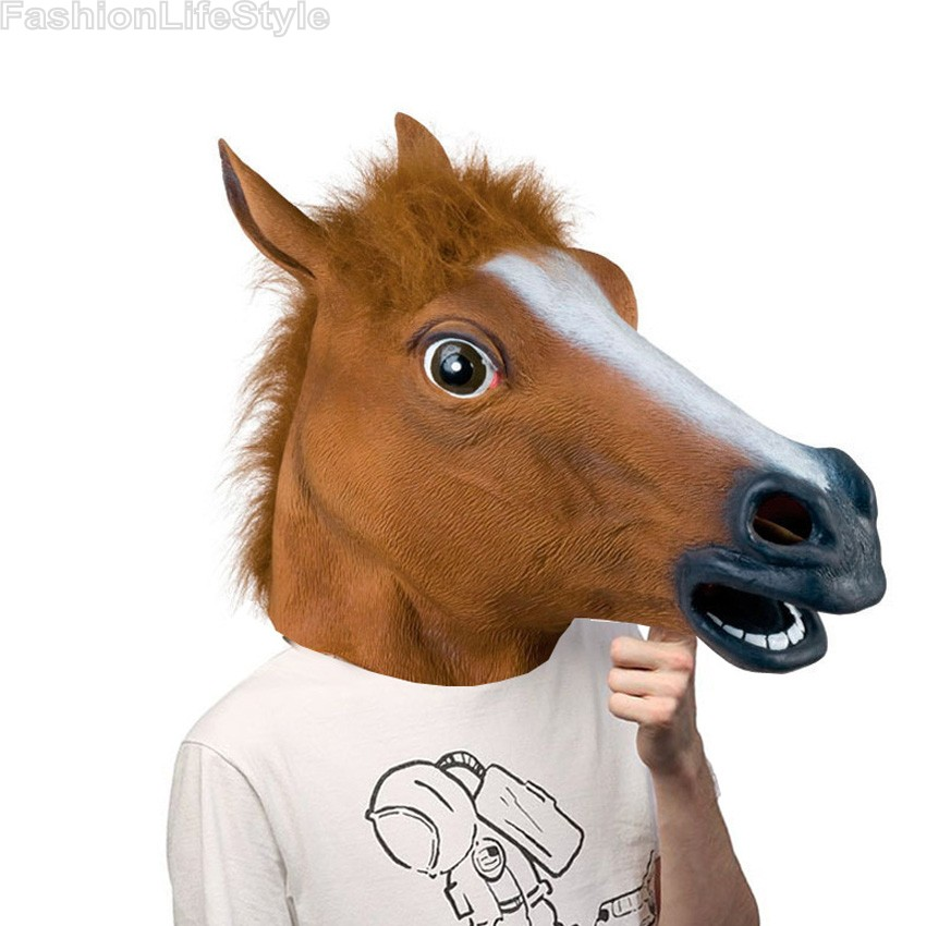 novelty creepy horse halloween head latex rubber costume theater prop party mask offering discounts rubber mask - Discount Halloween Props