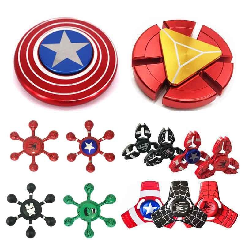 Спиннеры Капитан Америка Ironman паук Халк супер герой avenders пальца Best ручной Spinner холодный металл палец игрушка