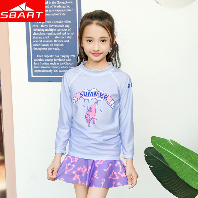 7d6b2f348ea Sbart Real Girls Two-piece Swimsuits+skirt 2019 New Summer Tankini Swimwear  Kid Children