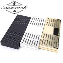 SWSMOK прямоугольная портативная сигара для курения, хьюмидор золотого цвета, увлажнитель для табака, влажная полоска, инструмент для сигар, коробка для сигарет