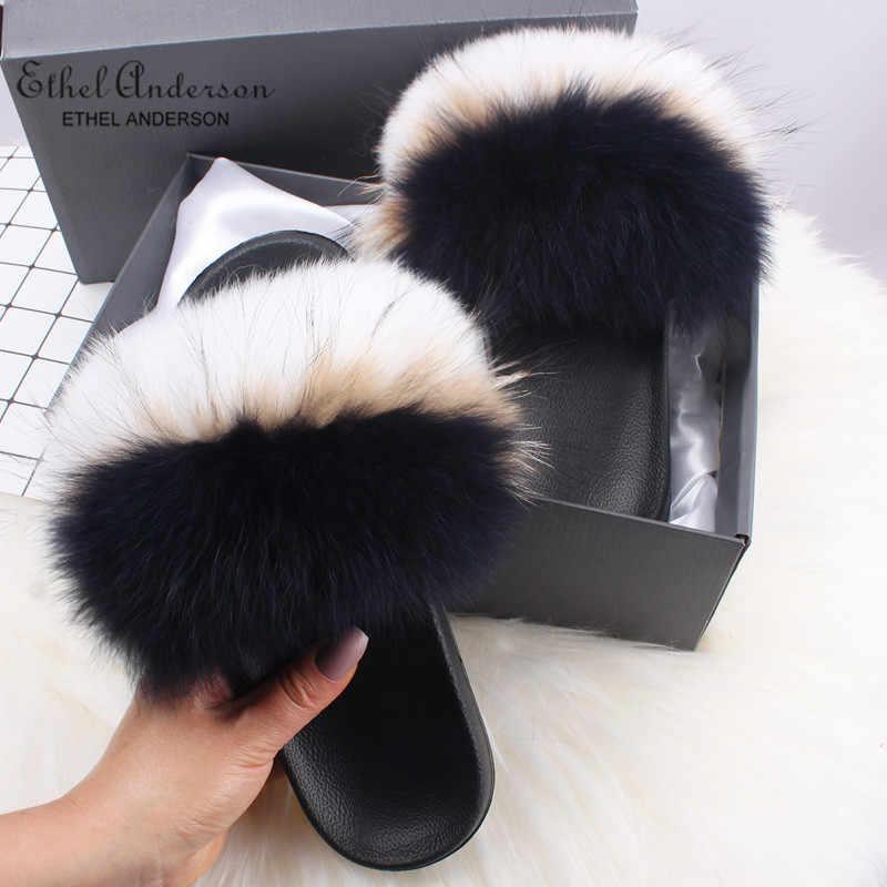 エセルアンダーソンリアルフォックスファースライドスリッパ女性の自然なアライグマフリップふわふわ毛皮のサンダル豪華な靴アメージング存在