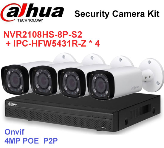 Dahua NVR Security CCTV Camera Kit NVR2108HS-8P-S2 Motorized Zoom Camera IPC-HFW5431R-Z P2P Surveillance System Easy instalL