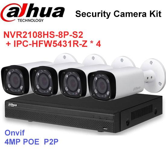 Dahua NVR Security CCTV Camera Kit NVR2108HS-8P-S2 Motorized Zoom Camera IPC-HFW5431R-Z  ...
