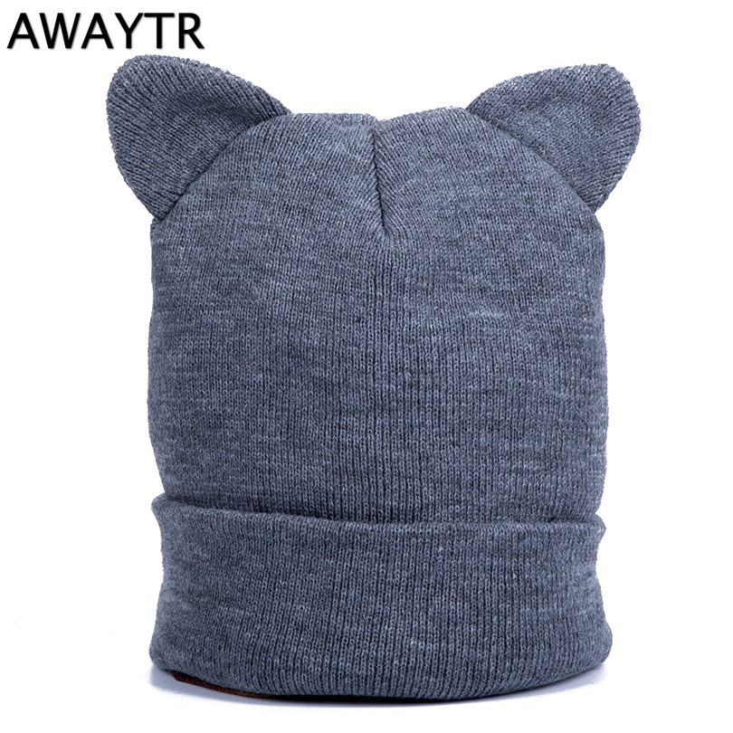 AWAYTR Autumn Skullies & Beanies Cat Ears Woman Knit Skullies Headwear Beanie forWomen's Cat Beanies Ear Hat Ladies 2pc skullies