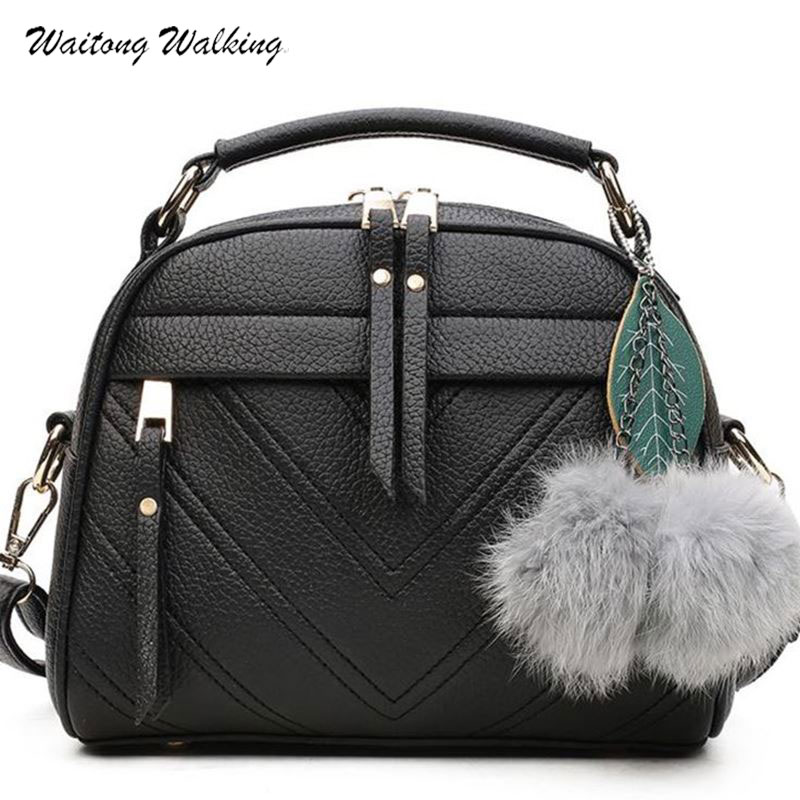 Women Bag Luxury Brand Shell Handbags Leather Messenger Ladies Bags Bolsas Femininas With Leaf Pompon Pendant b072 luxury patent leather women s totes stone pattern ladies shoulder bags brand girl tote chain messenger bag bolsas femininas ht50
