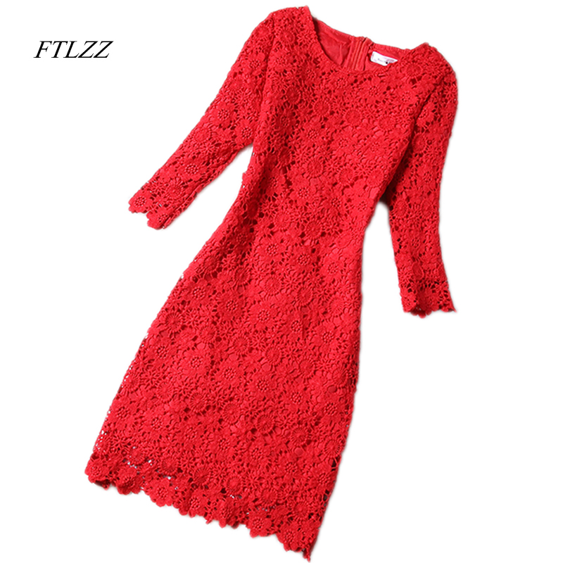 FTLZZ 2018 Spring Women Lace Dress O Neck Elegant Sexy Slim Dress Vintage Short Design Dress