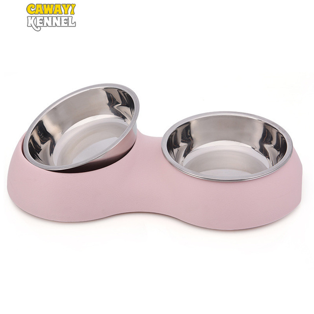 CAWAYI KENNEL Stainless Steel Double Pet Bowls for Dog Puppy Cats Food Water Feeder Pets Supplies Feeding Dishes Dogs Bowl D1374