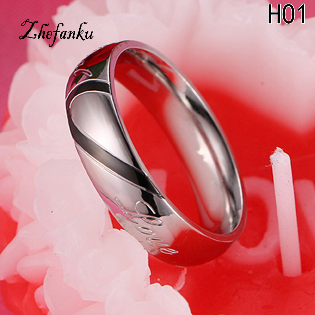 New Design Valentines Ring Woman Titanium Steel Heart-shaped Ring Hold Hands Couple Rings Fine Jewelry