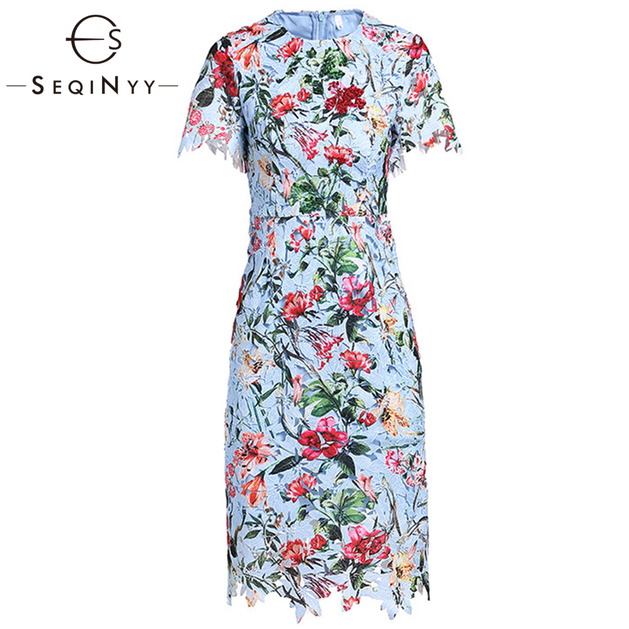 SEQINYY Floral Dress Printed Early Spring New Fashion High Quality Short Sleeve Slim Hollow out Lace