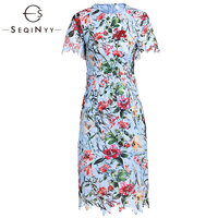 SEQINYY Floral Dress Printed Early Spring New Fashion High Quality Short Sleeve Slim Hollow out Lace Summer dress 2019