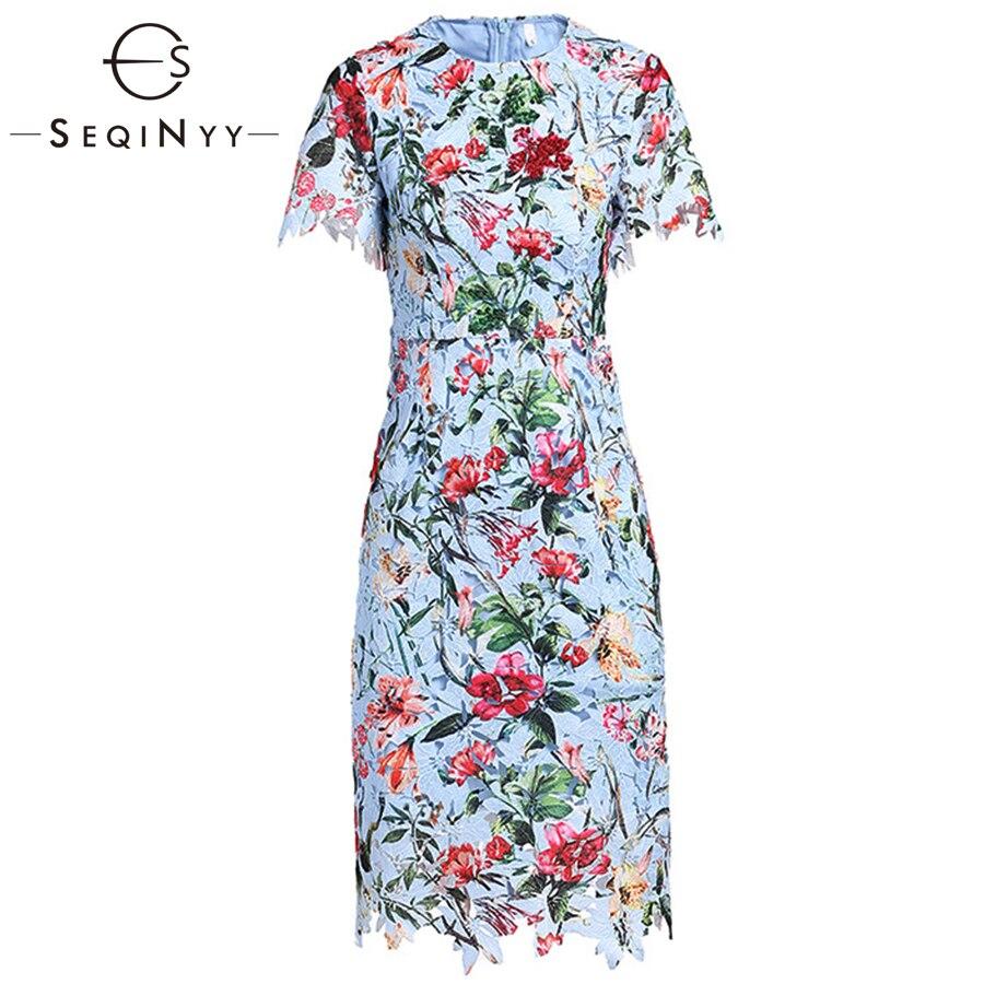 Kadın Giyim'ten Elbiseler'de SEQINYY Çiçek Elbise Baskılı Erken Bahar Yeni Moda Yüksek Kalite Kısa Kollu Ince oyma dantel yaz elbisesi 2019'da  Grup 1