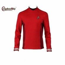 Star Trek Beyond Spock Cosplay Costume Engineer Crewman Cosplay Uniform Red Long Sleeves Shirt Free Badge Custom Made