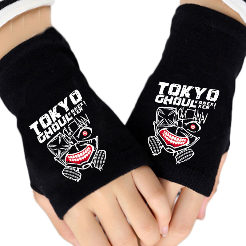 Anime Tokyo Ghoul Winter Warm Cotton Print Gloves Fingerless Black Glove Couple Men Women Mitten Cosplay Gifts