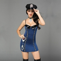 JSY sexy lingerie police uniform for sex polyester blue dress tempt hot erotic cop suit outfit with handcuff hat collar 6905