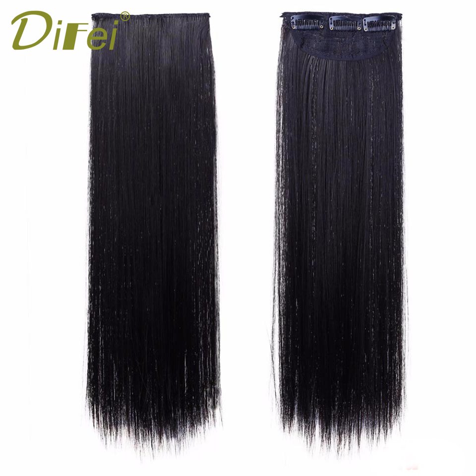 DIFEI Long Straight Hair Extension 3 Clips 2 Pieces Natural 18inch Hair Pieces Long Fake ...