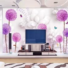 beibehang Three-dimensional classic aesthetic wallpaper flower purple dandelion water refl