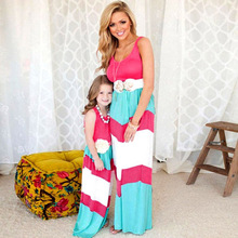 Family Matching Clothes Matching Mother And Daughter Dresses Striped Patchwork Dress New Fashion Family Look Girls Dress